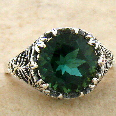 Sim Emerald 925 Sterling Filigree Antique Vintage Style Silver Ring Size 10,#779