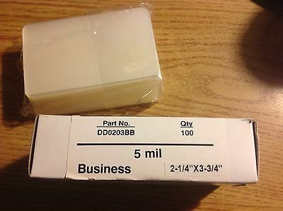 """100 5MIL BUSINESS CARD SIZE LAMINATING POUCHES 3 3/4"""" X 2 1/4"""" By Bindrite"""