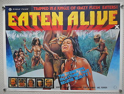 Eaten Alive, Original UK Quad Poster, Cannabalism horror, '80