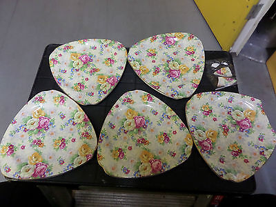 5 Bcm/ Nelsonware - Lord Nelson Ware - Rose Time Triangular  Vintage Plates - Af