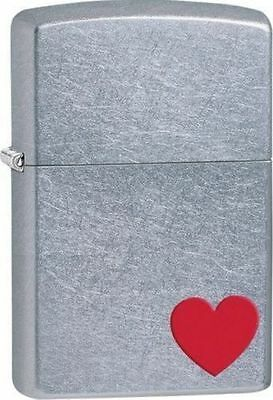 Zippo Windproof Street Chrome Lighter with Red Heart, 29060, New In Box