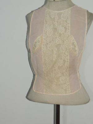 1930-40's Pink / Lace Dickie / Faux Blouse S- M