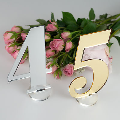 Laser Cut Acrylic Table Numbers Gold, Silver, Black or Pink Incl. FREE STANDS!