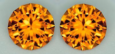 Australian Citrine Matching Pair (2) - Master Cut Rounds - 6.5 mm - Natural