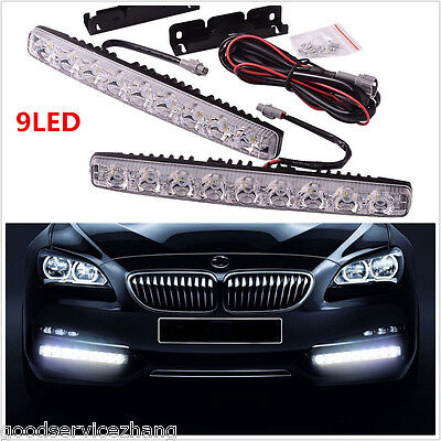 2x 9LED 18W Fit Car White LED for Daytime Running Light DRL Fog Driving Lamp