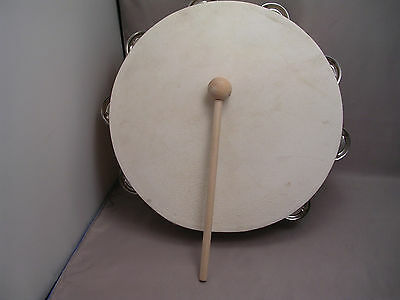 """10"""" Wood Tambourine With Head & 28 Jingles + New Bigger 8"""" Mallet - Fast Ship"""