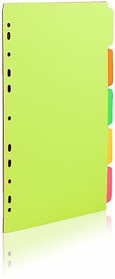 Concord A4 5 Part Board Dividers Bright Neon Fluorescent Colours Ring Binders