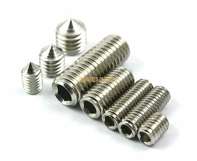 40 M10 x 12mm 304 Stainless Steel Cone Point Grub Screws Hex Socket Set Screw