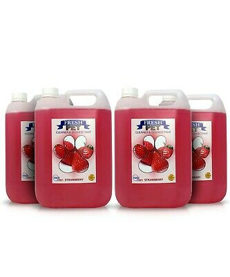 Fresh Pet Disinfectant Cleaner Animal Safe 4 X 5L Strawberry Prefilled