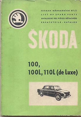 Skoda 100, 100L, 110L (de Luxe) Original Spare Parts Book 1969 Multilanguage