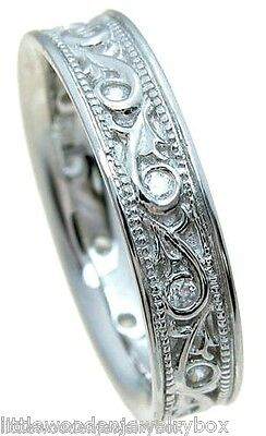 Antique Style Carved Sim Diamond Wedding Band Women's Ring 925 Sterling Silver