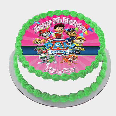 Paw Patrol Real Edible Icing Round Cake Topper Party Image Frosting Sheet