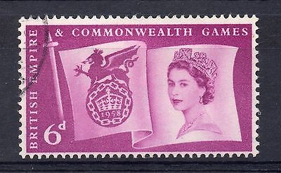 GB = 1958 `Empire & Commonwealth Games` 6d. Very Fine Used SG 567 Reverse Offset