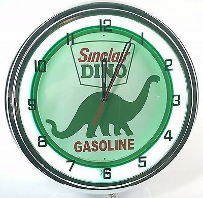 "Vintage 15"" SINCLAIR DINO Metal Sign  Neon Wall Clock Retro Gas Station"