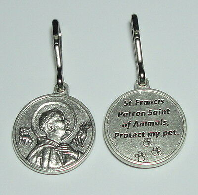 """1"""" St Francis of Assisi Pet Medal for Dog Collar Cats Patron Saint of Animals"""