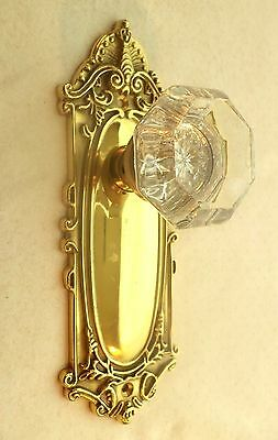 Ornate Retro Brass Door Plate & Glass Knob
