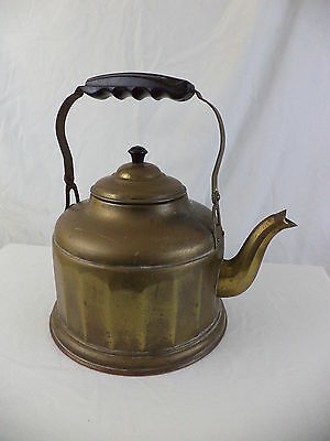 Vintage Brass & Copper Country Decorative Stove Kettle / Tea Pot - Germany