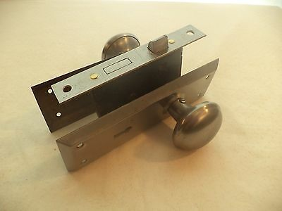 Vintage Steel Door Plate, Knob & Lock Box Set