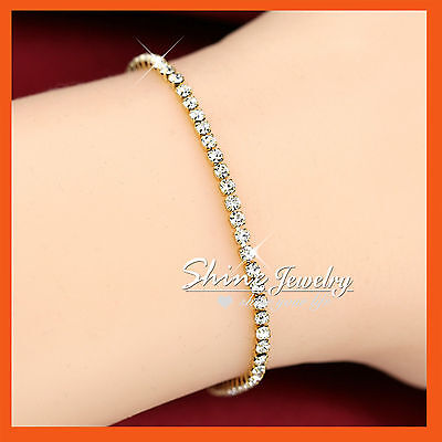 18K Gold FILLED LAB SIMULATED DIAMOND TENNIS ROW BAND SOLID LADY BANGLE BRACELET