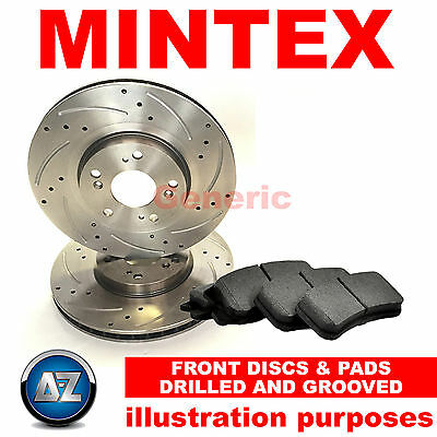 Front Mintex Drilled Grooved Brake Discs Pads and MDC1641 MDB2634