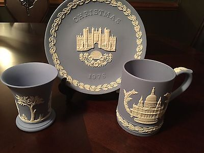 Jasperware Wedgwood St. Paul's Cathedral Christmas Plate, Mug and Classic Cup