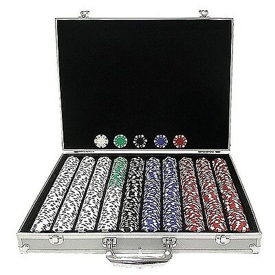 Trademark Poker 1000 Dice-Striped Chips in Aluminum Case 11.5gm