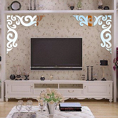 3D DIY Removable Flower Vines Acrylic Mirror Wall Stickers Room Home Decoration