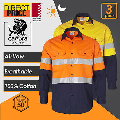3X Hi Vis Shirts Safety Work Shirts wear 3M Tape Cotton Drill Light VENTILATED