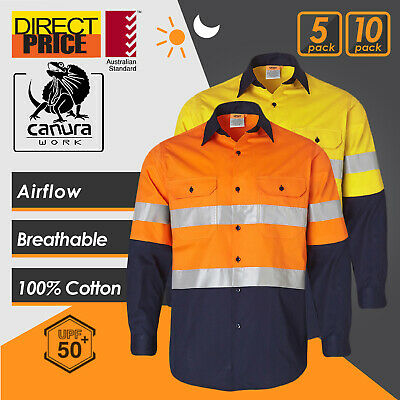 5 10 Pack Hi Vis Shirt Work Shirts Safety 3M Tape Cotton Drill Light VENTILATED