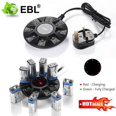 EBL 8-Bay Smart Battery Charger For 9V 6F22 Li-ion Rechargeable Battery