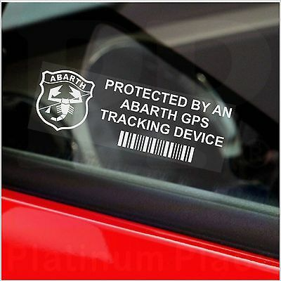 5 x ABARTH GPS Tracking Device Security Stickers-Car Alarm Warning Tracker Signs