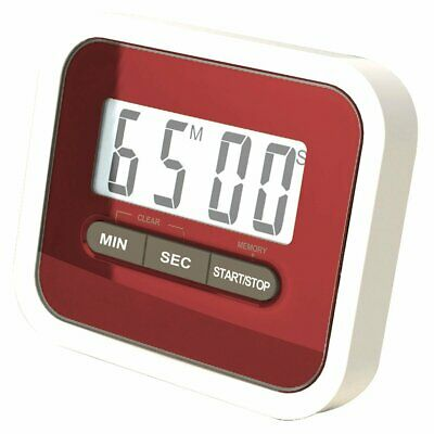 Digital LCD Magnetic Kitchen Cooking Timer Includes Clip Clothing 24 Hours - Red
