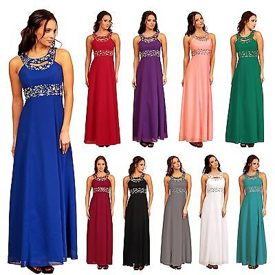 Formal Long Ball Gown Party Prom Beaded Bridesmaid Evening Dress Size UK 6 - 22