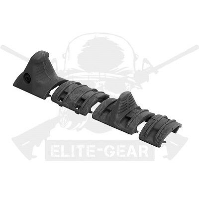 Black Picatinny 1913 Rail Panels Angled Hand Stop Grip Enhanced Handstop Kit