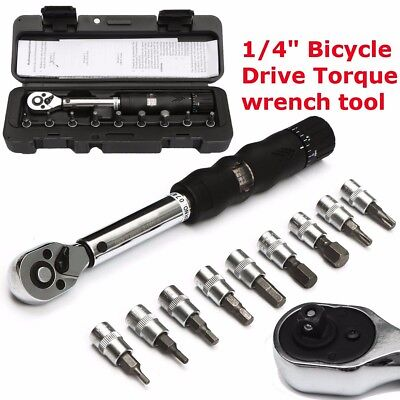 """2~14NM 1/4"""" Bits-Alloy Steel Bicycle Drive Torque Wrench Key Tool Socket Set"""