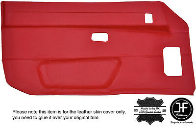 Red Leather 2X Full Door Card Leather Covers Fits Porsche 924 944 75-85