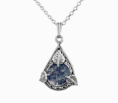 Blue Roman Glass Sterling Silver Necklace Drop shape Leaves New Stylish Pendant
