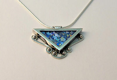 Beautiful New Sterling Silver & Roman Glass Pendant Nice Ethnic Triangle Design