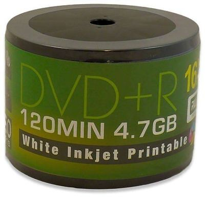 600 x Aone DVD+R Inkjet 16x White Full Face Printable Blank Discs 4.7GB 120mins