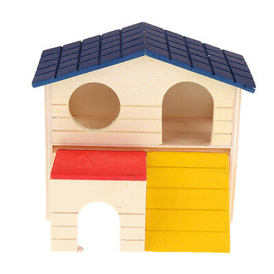 Small Animal Two Storey Cabin House Natural Wood Hamster Mouse Gerbil Rat