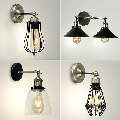 Vintage Industrial Steampunk LED Indoor Wall Sconce Lights Fittings Lamps Black