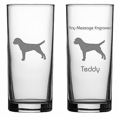 Border Terrier Dog Lover Gift Engraved Hiball Glass: Can Be Personalised