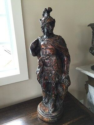 "ANTIQUE ROMAN CENTURION 36"" HT. X 9 1/2"" At BASE. 35+ YRS OLD. HEAVY & DETAILED!"