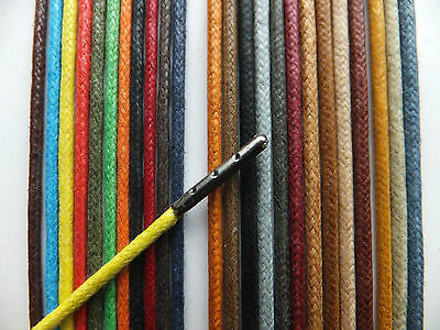 2.5mm Round Waxed Cotton METAL TIPPED Shoelaces - Dress Shoe Brouges B3G1EF