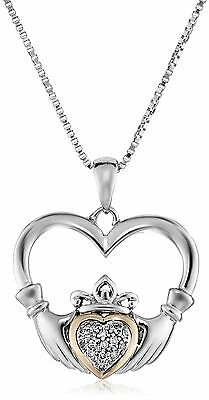 """Sterling Silver and 14K Yellow Gold Diamond Claddagh Heart Pendant Necklace 18"""""""