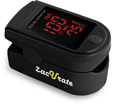 Zacurate 500DL Pro Series Black Finger Pulse Oximeter Oxygen Saturation O2 Meter