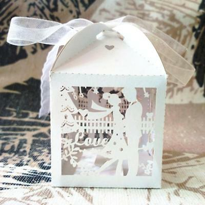 50pcs Luxury Bride & Groom Wedding Party Sweets Cake Candy Gift Favour Boxes