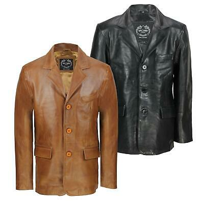 Mens Black & Tan Real Soft Sheep Leather Blazer Mid Length Vintage Jacket Coat