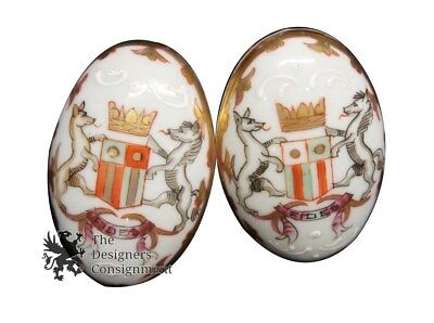 Aique Hand Painted Porcelain Door Oval Egg Shaped Knob Flowers & Shield Crest