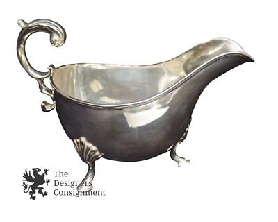 Large Antique Georgian Style Footed Silver Plate Sauce Gravy Boat Repousse Cream